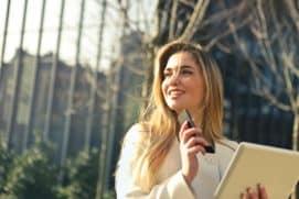 beautiful businesswoman caucasian online student