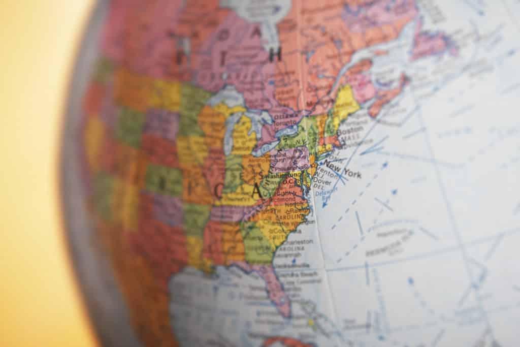 united states map globe