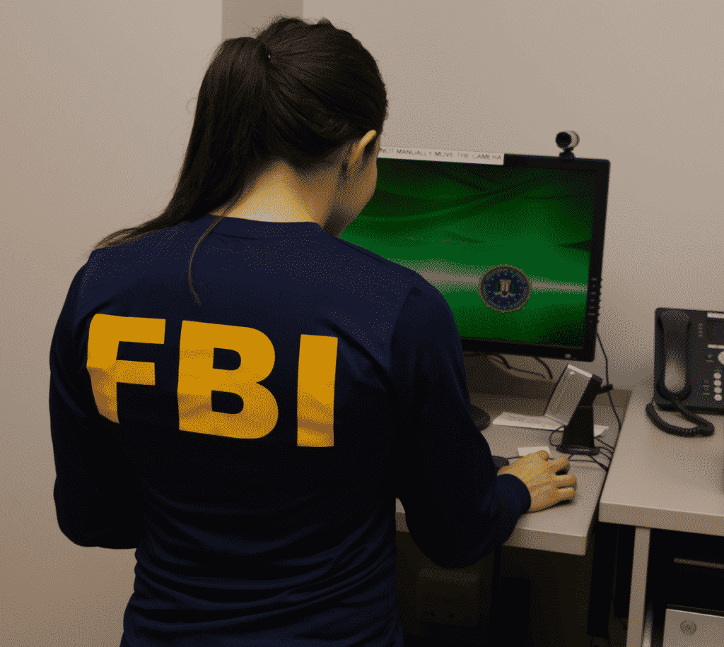 FBI San Diego Female Special Agent Working at Computer 1
